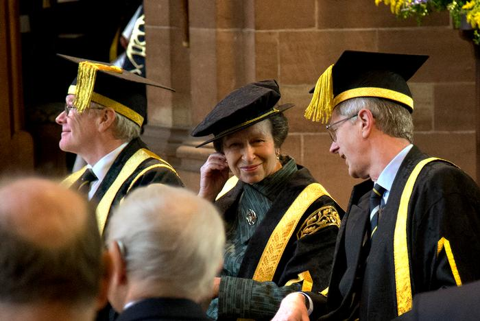 HRH The Princess Royal with University Vice-Chancellor Dr David Llewellyn, right, and Chairman of the Board of Governors, Mike Lewsi, left.