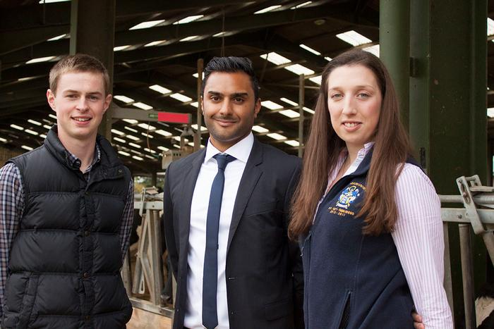 Previous Rabobank Scholarship recipients Will Taylor and Lizzy Andow with Rishi Sethi