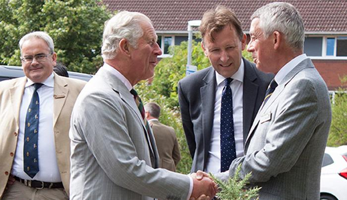 Professor Peter Mills welcomes The Prince of Wales to Harper Adams