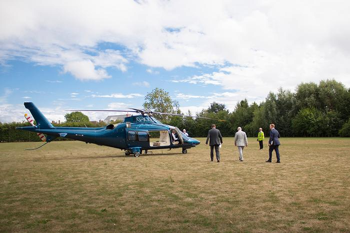 His Royal Highness returns to the Queen's Flight helicopter