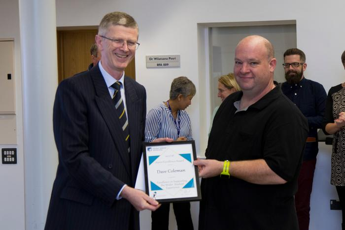 Dave Coleman receiving his Wider Student Experience award