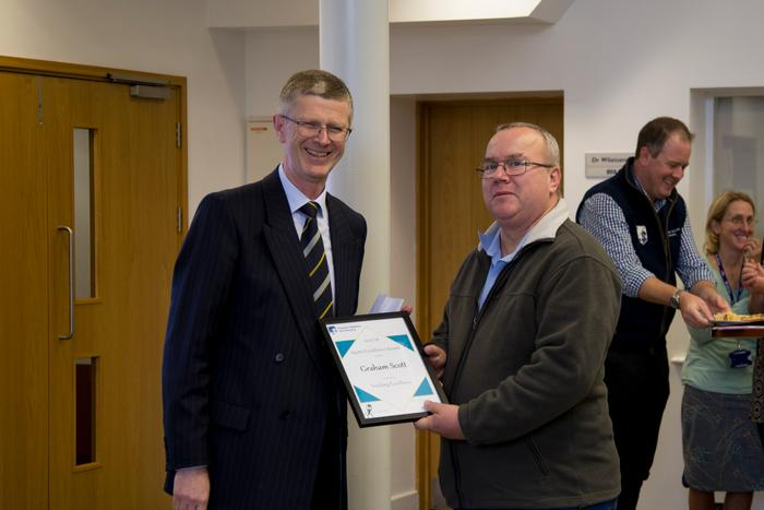 Graham Scott receiving his Teaching Excellence award