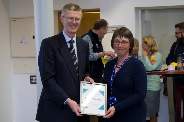 Louise Manning receiving her Teaching Excellence award