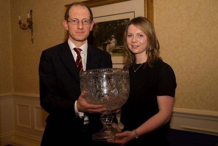 Edwin Truesdale presenting Shannon McNiece with the Victor Truesdale Award