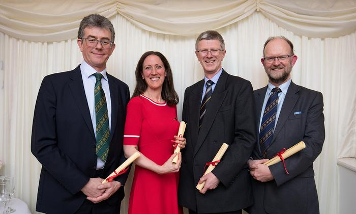 Some of the Harper Adams award recipients at the House of Lords reception (L to R) Richard Anscombe ARAgS, Dr Jude Capper ARAgS, Dr David Llewellyn FRAgS and Charles Cowap ARAgS