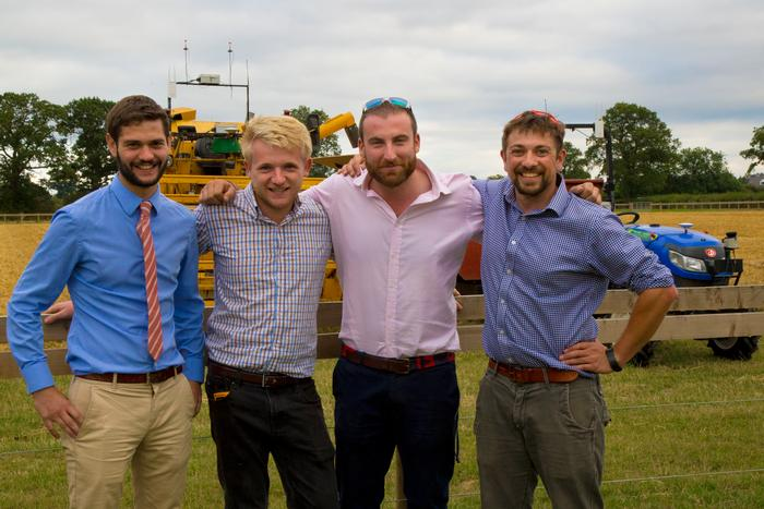 The team after harvest in 2018: Kit Franklin, Martin Abell, Kieran Walsh and Jonathan Gill