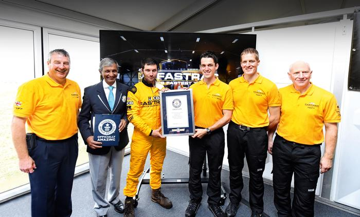 Alex Skittery (right of centre) with Guy Martin and the Guiness World Records team