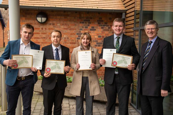 The prize winners with Vice Chancellor Dr David Llewellyn outside the Regional Food Academy