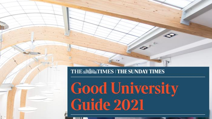 Goog University Guide 2021 banner over image of bright and airy campus interior