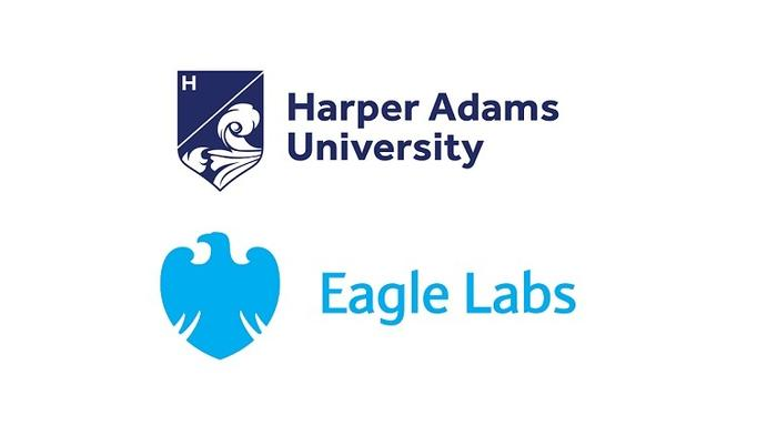 The Harper Adams University and Barclays Eagle Labs logos.