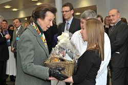 The Princess receives a basket of regional food from student Heather Tuck