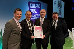 AD Plant Manager, James Wood; Estates Manager, Paul Moran; Stephen Howard, Chief Executive of BITC and Farm Manager, Scott Kirby