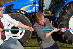 Getting stuck in at the charity tractor pull