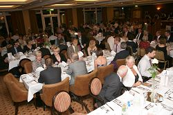 Diners enjoy a feast of local food at the dinner.