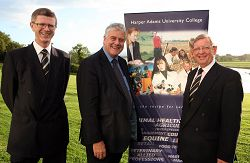 L-R  Dr David Llewellyn, Principal of Harper Adams University College, guest speaker Conservatives and Unionists MEP, Jim Nicholson, and Joe Lawson, Chairman of the Harper Adams In Ireland Association.