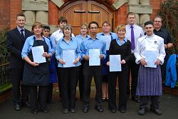 Catering Manager David Nuttall (far left) is pictured with some of his staff who have all passed their Level 2 Award in Food safety in Catering