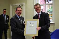 Richard Butler receives his certificate from Dr David Llewellyn