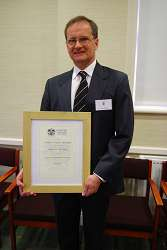 Andrew Havergal with his certificate.