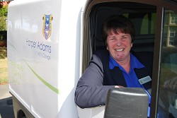 Margaret testing out the new van