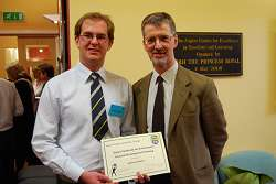 James with Senior Engineering Lecturer Richard Langley at the Aspire award presentation