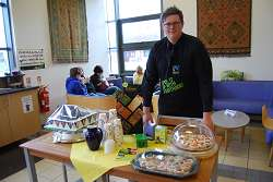 Mitchell Hall in the Kaldi Cafe during Fairtrade fortnight