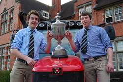 Tom Macfarlane and Rob Hirst with the ploughing trophy