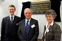 David Llewellyn, Robin Faccenda and chair of the Board of Governors, Alison Blackburn, are pictured infront of the plaque in The Faccenda Centre