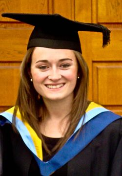 Emma Ward, aged 23 of North Lincolnshire, is pictured on her graduation day in September