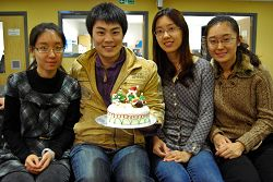 L-R Students Monica Dai, Franck Li, Mia Chang and Athena Yang with their decorated cake
