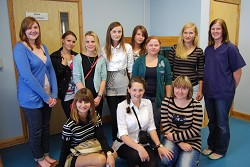The girls with Sue Jeavons and placement student, Jen