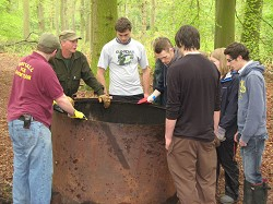 The Conservation Society during the charcoal making weekend