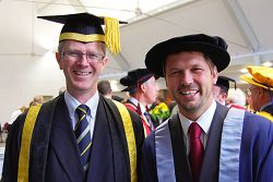 L-R Principal of Harper Adams, Dr David Llewellyn, with Jimmy Doherty who was made a Harper Adams University College Fellow.