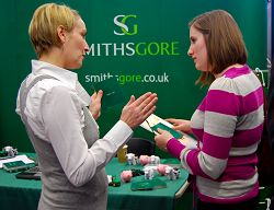 Lucie Muddiman, who completed a postgraduate degree at Harper Adams and now works for Smiths Gore, with a student.