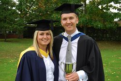 Two taught postgraduate students, Lucy Christodoulides and Darryl Cottingham.