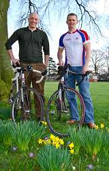 (L-R) Mitch Crook, crops lecturer and Richi Jenkin, senior IT technician at Harper Adams are pictured in the daffodils at the University College ahead of their 200-mile cycle challenge on April 1.