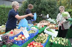 Shoppers browse the fresh produce stalls