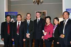 The British Ambassador to China, Mr Sebastian Wood, (third from left) and Dr David Llewellyn, with the President of Beijing Agricultural College, Professor Wang Younian (second from left) and his senior colleagues