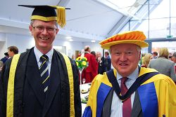 L-R Dr David Llewellyn and Sir Anthony Bamford, an Honorary Doctor of Science at HAUC.