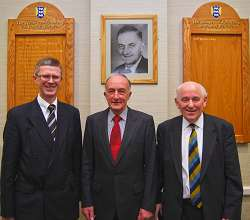 L-R Dr David Llewellyn, Principal of Harper Adams, is pictured with Ron Temperton, son of the late Harold Temperton (pictured behind) and Peel Holroyd, Chairman of the Temperton Fellowship