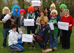 Staff and students are pictured in thier wigs for 'National Wig Day'.