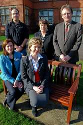 Pictured are front row L-R Alison Pyatt, Animal Science Lecturer with Sophie Throup, FarmSkills Manager at XLVets. Back row L- R are Phil Alcock, Farmskills Founder, Liz Warr, Curriculum Development Advisor for the REEDNet project and Carwyn Ellis, Head of the Animals Department at Harper Adams