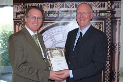 Carwyn Ellis from Harper Adams presents David Mulligan with his award
