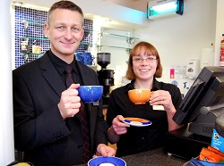 David Nuttall and Katy Smith in the Kaldi Cafe