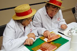 Marion Parkinson and Christine Vaughan from Ladies in Pigs judge samples