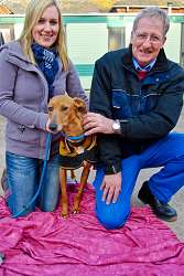 Bernard Greatbatch is pictured with Katie Hatfield and the stray female Lurcher found on January 16 in Brineton, near Blymhill, Shifnal