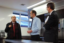 Dr Burgess with Regional Food Academy Manager Martin Anderson and Harper Adams Principal Dr David Llewellyn