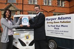 Karen Hughes and Dr David Llewellyn celebrate Harper being awarded the Carbon Trust Standard