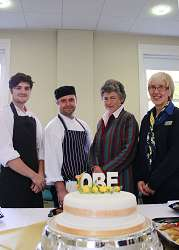Chefs James Chapman and Wayne Wright, and cake maker Jenny David (right) with Alison Blackburn OBE