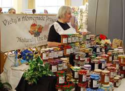Vicky Langford from Shawbirch with her home-made preserves stall at the Farmer's Market