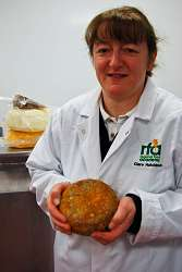 Clare Hutchinson is pictured with her hand made cheese.
